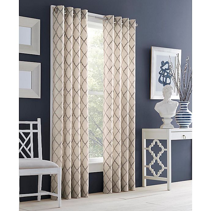 Alternate image 1 for J. Queen New York™ Adorn 84-Inch Grommet Top Embroidered Window Curtain Panel in Grey
