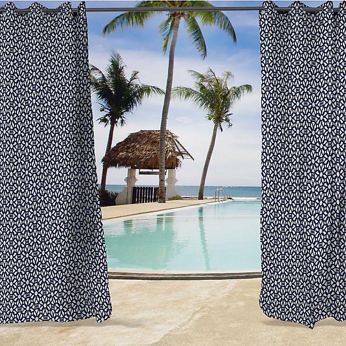 Alternate image 1 for Sunbrella® Luxe Grommet Top Indoor/Outdoor Curtain Panel in Indigo/White