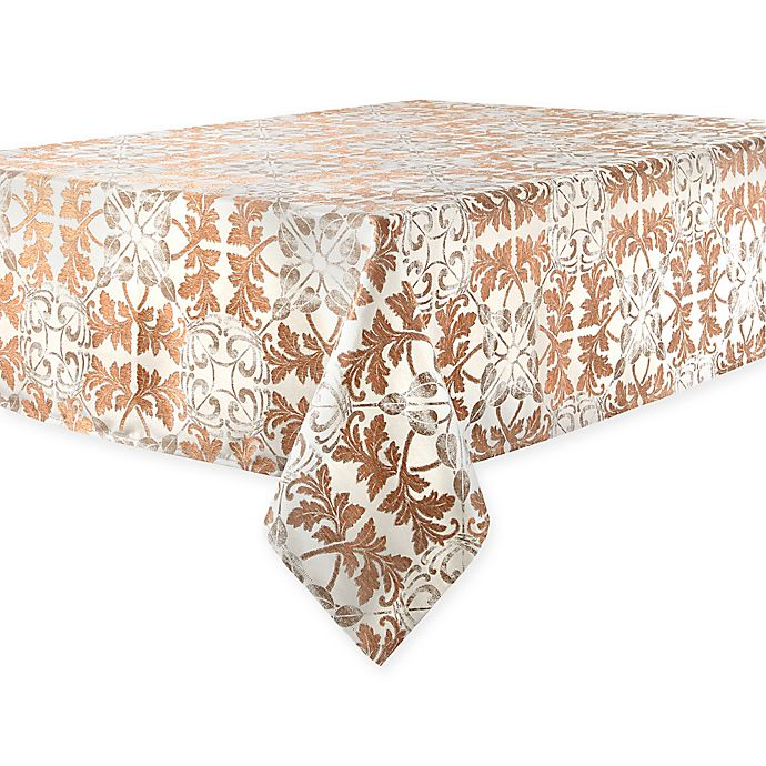 Alternate image 1 for Waterford® Linens Octavia 90-Inch Round Tablecloth in Bronze