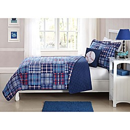 Plaid Patch 3-Piece Quilt Set in Blue/Red