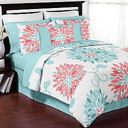 Sweet Jojo Designs Emma Queen Comforter Set in White/Turquoise