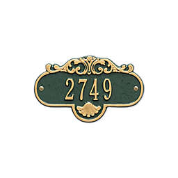 Whitehall Products Rochelle Petite Address Plaque in Green/Gold