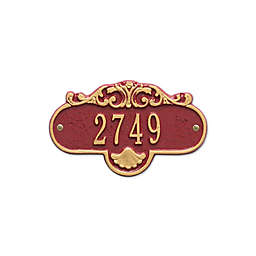 Whitehall Products Rochelle Petite Address Plaque in Red/Gold