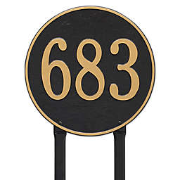 Whitehall Products 15-Inch Round Lawn Address Plaque in Black/Gold