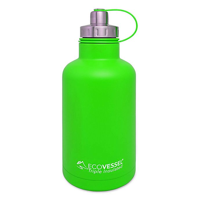 Alternate image 1 for Eco Vessel® BOSS 64 oz. Insulated Stainless Steel Water Bottle with Infuser in Green