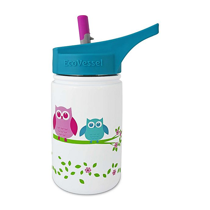 Alternate image 1 for Eco Vessel® SCOUT 13 oz. Owl Stainless Steel Straw Top Water Bottle in White