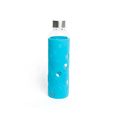 Manna™ Wai 18 oz. Glass Bottle Bamboo Lid Loop in Aquamarine