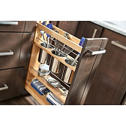 Rev-A-Shelf . Pull-Out Wood Base Cabinet Utensil Organizer with 3 Bins and Soft-Close Slides