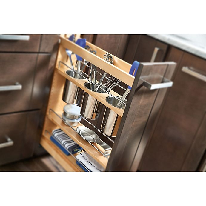 Rev A Shelf Pull Out Wood Base Cabinet Utensil Organizer With 3 Bins And Soft Close Slides