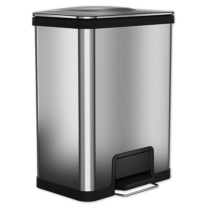 Alternate image 1 for halo™ AirStep™ Feather-Light 49-Liter Step Trash Can in Brushed Stainless Steel
