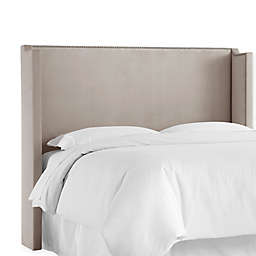 Skyline Furniture Shiloh King Upholstered Wingback Headboard in Platinum