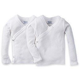 Gerber® 2-Pack Side Snap Long Sleeve Shirts in White
