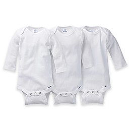 Gerber ONESIES® Brand 3-Pack Long Sleeve Bodysuits in White