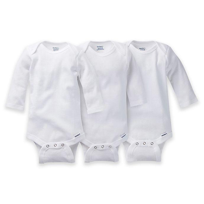 Gerber ONESIES® Brand 3-Pack Long Sleeve Bodysuits in White | Bed Bath & Beyond