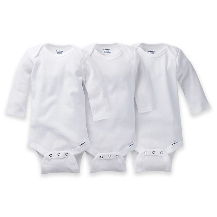 Alternate image 1 for Gerber ONESIES® Brand 3-Pack Long Sleeve Bodysuits in White