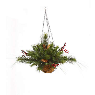 Vickerman Mixed Berry and Pine Cone Hanging Basket