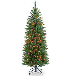 National Tree 4.5-Foot Kingswood Fir Hinged Pre-Lit Pencil Christmas Tree with Multicolored Lights