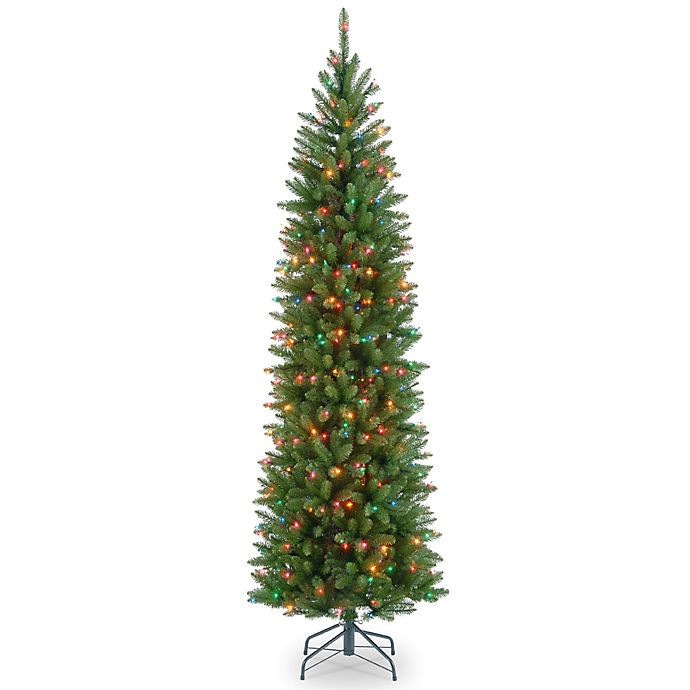Alternate image 1 for National Tree Kingswood Fir Hinged Pre-Lit Pencil Christmas Tree with Multicolored Lights