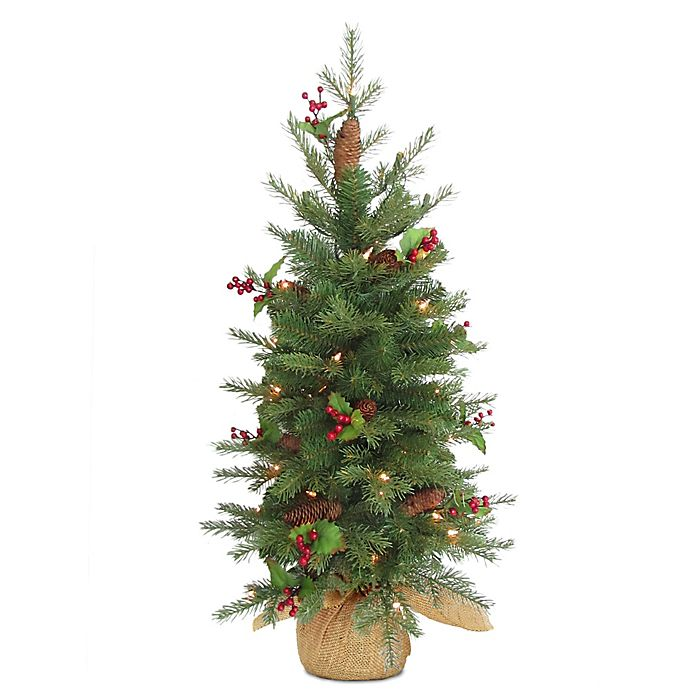 Alternate image 1 for National Tree 3-Foot Nordic Spruce Battery-Operated Berry Christmas Tree with Warm White Lights