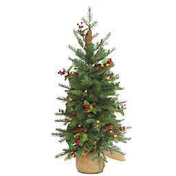 National Tree 3-Foot Nordic Spruce Battery-Operated Berry Christmas Tree with Warm White Lights