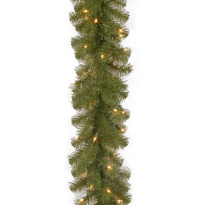 Alternate image 1 for National Tree Company 9-Foot x 10-Inch North Valley Spruce Garland with Clear Lights