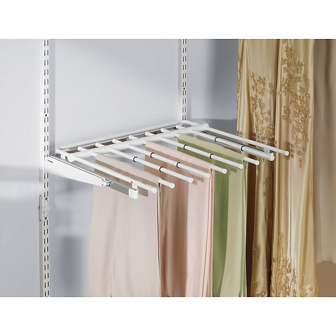 Alternate image 1 for Rubbermaid® 7-Rod Sliding Pants Rack for Closet Organizer in White