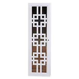 Modern Jewelry Armoire with Decorative Mirror in White