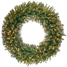 National Tree Company 48-Inch Pre-Lit Norwood Fir Wreath with Warm White LED Lights