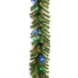 National Tree Company 9-Foot 10-Inch Pre-Lit Norwood Fir Garland with Multicolor LED Lights