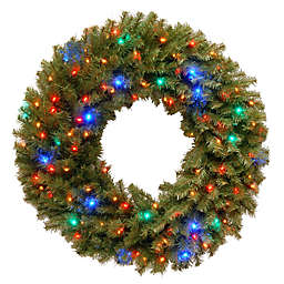 National Tree Company 36-Inch Pre-Lit Norwich Fir Wreath with Multicolor LED Lights