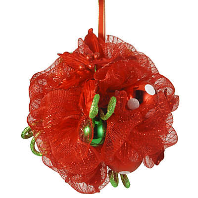 Decorative Collection 12-Inch Red Ribbon Kissing Ball