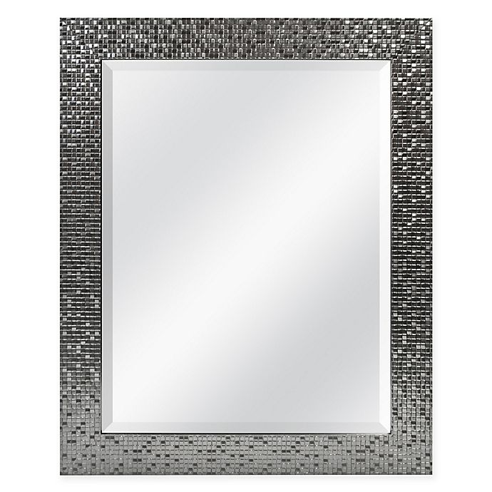 Alternate image 1 for Tiled 26.5-Inch x 32.5-Inch Square Mirror in Brushed Silver