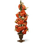 Decorative Collection 4-Foot Striped Red Ribbon Entrance Tree
