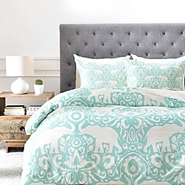 Deny Designs Elephant Duvet Cover in Green