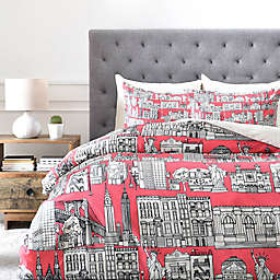 Deny Designs NY Duvet Cover in Coral