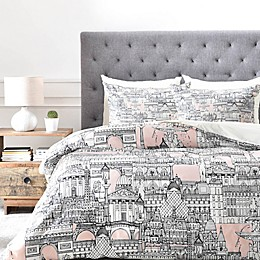 Deny Designs Paris Toile Sugar Pink Duvet Cover