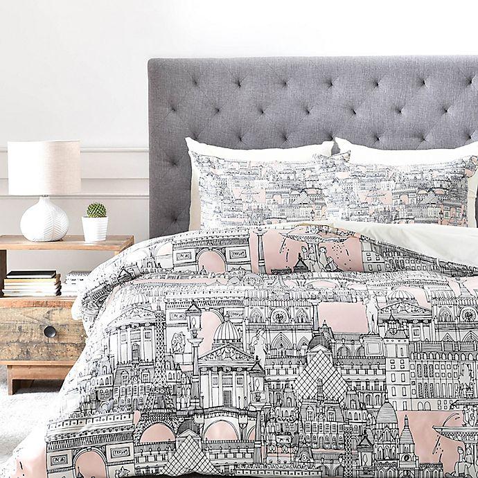 Deny Designs Paris Toile Sugar Pink Duvet Cover Bed Bath