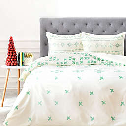 Deny Designs Social Proper Holiday Sweater Duvet Cover in Green