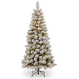 National Tree 7-Foot 6-Inch Snowy Bristle Pine Slim Christmas Tree with Clear Lights