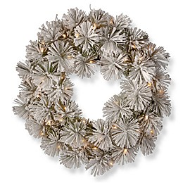 National Tree Company 24-Inch Snowy Bristle Pine Wreath with LED Lights