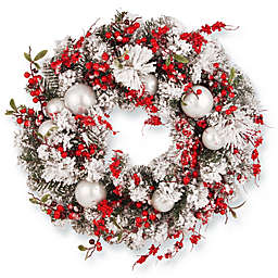 National Tree Company 24-Inch Frosty Christmas Wreath in White/Red