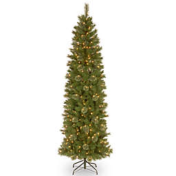 National Tree Company 7.5-Foot Tacoma Pine Pencil Slim Pre-Lit Christmas Tree with Clear Lights