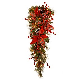 National Tree Company 36-Inch Tartan Plaid Teardrop Christmas Swag with Battery Warm White LED