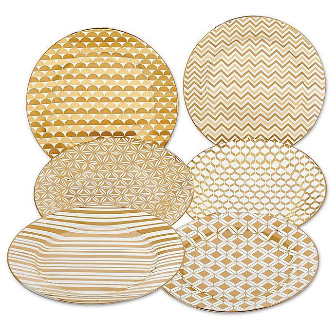 Alternate image 1 for Certified International Elegance Gold Tapered Dessert Plates (Set of 6)