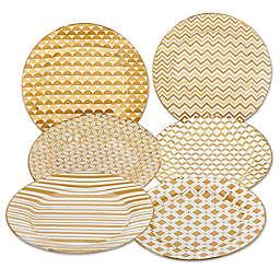 Certified International Elegance Gold Tapered Dessert Plates (Set of 6)