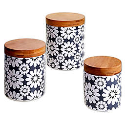 Certified International Chelsea Grey Floral 3-Piece Canister Set