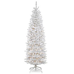 National Tree Company 7-Foot Kingswood White Fir Pre-Lit Pencil Christmas Tree with Clear Lights