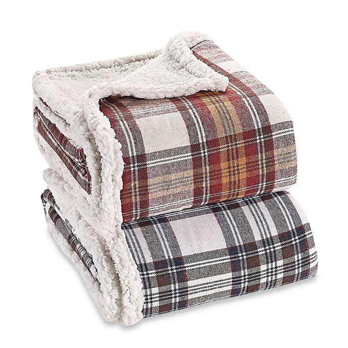 Alternate image 1 for Eddie Bauer® Sherpa Flannel Throw Blanket