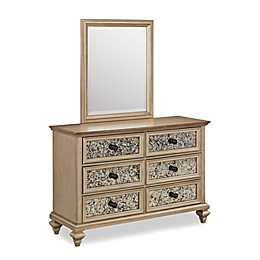 Home Styles Visions 6-Drawer Dresser and Mirror in Silver