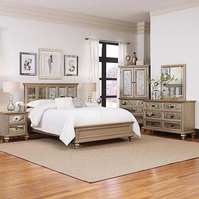 Alternate image 1 for Home Styles Visions 5-Piece Queen Bedroom Set in Silver